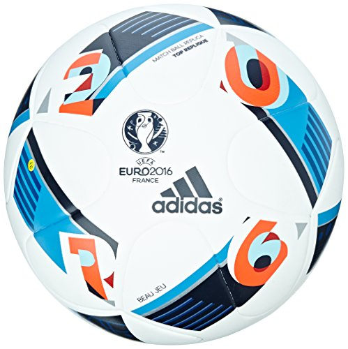 adidas Herren Ball EURO 2016 Top Replica X, White/Bright Blue/Night Indigo, 5