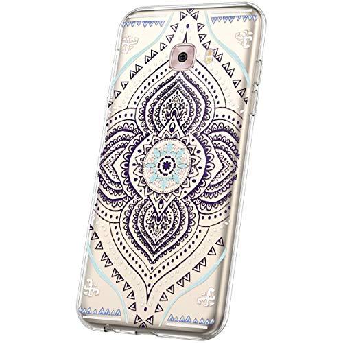 JAWSEU Compatible avec Coque Samsung Galaxy C5 Pro Transparente Silicone Ultra Mince Souple TPU Cristal Clair Housse Coque Mode Belle Fleur Motif Coque de Protection,Mandala#11