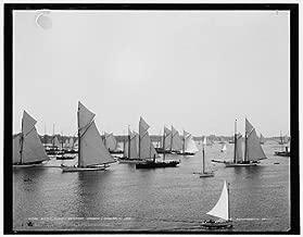 HistoricalFindings Photo: NYYC fleet, York Yacht Club,boats,ships,Newport harbor,Rhode Islands,RI,1888