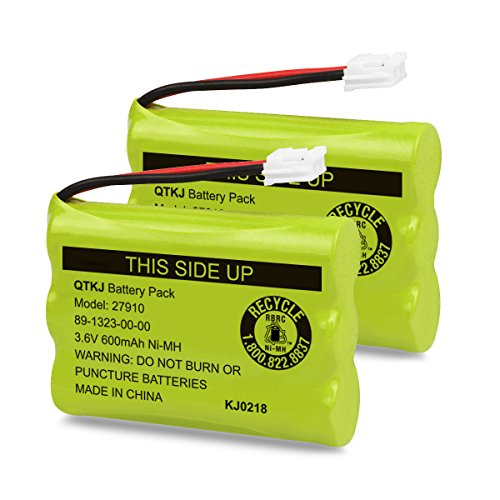 QTKJ Cordless Phone Battery for Motorola SD-7501 MD7161 AT&T 27910 89-1323-00-00 E1112 E2801 TL72108 Vtech I6725 RadioShack 23-959 (2-Pack)
