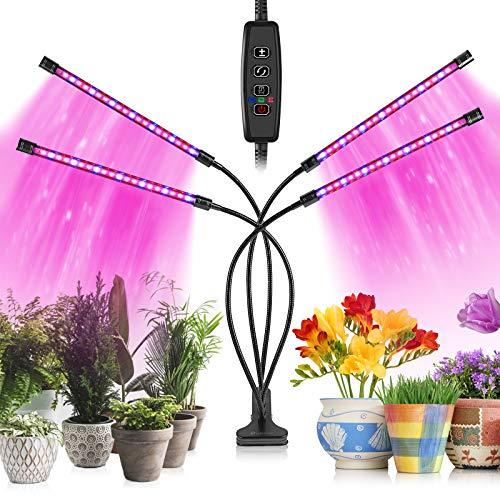 Wachstumslichter für Zimmerpflanzen, 80 LED-Lampen mit Vollspektrum & Rot-Blau-Spektrum, 10 Dimmstufe & 4 Köpfe, Wachstumslampe mit Timer, 360° verstellbarer Schwanenhals für Sämlinge und Sukkulenten