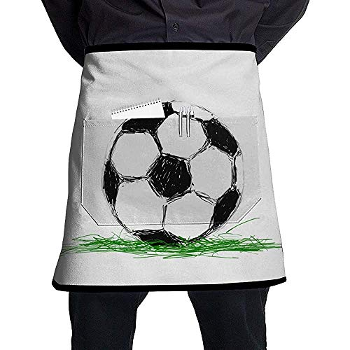 ALaze Taillenschürzen Lätzchen Brasilien National Soccer Football Kitchen Cooking Half Chef Schürze mit Pocket Unisex Professional Lätzchen
