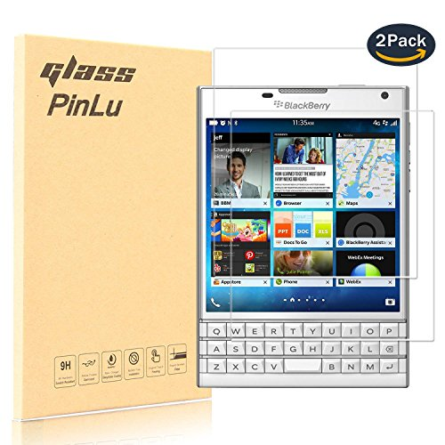 [2 Pack] Protector de pantalla de cristal para Blackberry Passport Silver Edition pinlu® Protector Cristal Vidrio Templado para Blackberry Passport Silver Edition [9H/2.5D/0.26mm, 99% Transparente]