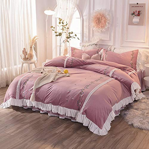 brushed cotton king size duvet cover-Winter double-sided fleece warmth thick crystal velvet flannel duvet cover single bed single pillowcase gift-P_1.8m bed (4 pieces)