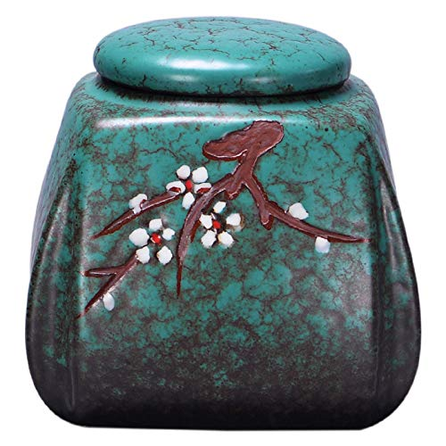 Latas de té de Esmalte Turquesa Tetera de cerámica doméstica Caja de Embalaje de té Pu'er Sello de Viaje Tetera de Esmalte Turquesa Tetera de té Verde Cuadrada 13.6 * 12.6cm 300g