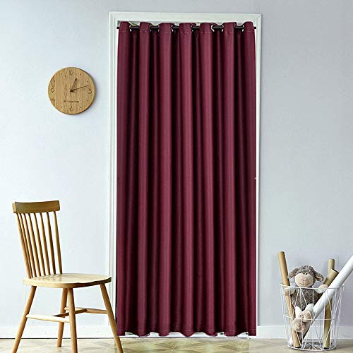 Doorway Panel Room Divider Solid Blackout Curtains 78 Inch Grommet Drapes Room Darkening Thermal Insulated Energy Efficient Window Treatment for Bay Window 1 Panel W51 x L78 Inch Burgundy