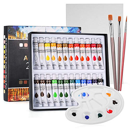 Funxim Acrylfarben, 24 Acrylfarben Set mit 3 Künstlerpinsel, 1 Mischpalette und 1 Leinwand, Geeignet für Anfänger, Studenten und Kinder