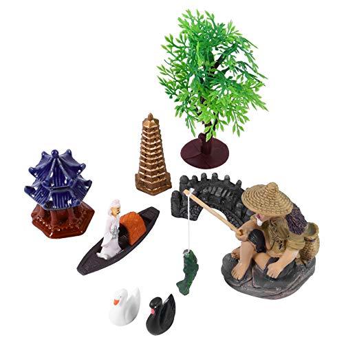 UPKOCH 8 mini acquario paesaggio decorazioni fatate giardino bonsai miniatura albero asciugamano ponte statua Pescatore Fish Tank albero modello piccolo sabbia tavolo decorazione (colore