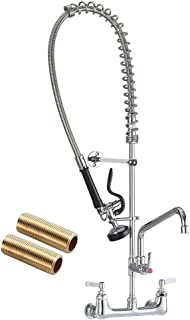 """JZBRAIN 8 Inch Center Commercial Faucet with Sprayer 42"""" Height Wall Mounted Pre-Rinse Kitchen Fuacet Wall Mount Commercial Sink Faucet with 12"""" Add-on Swing Spout"""