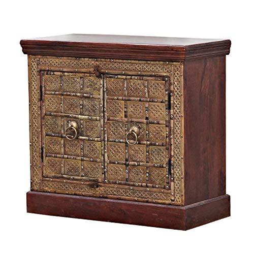 Casa Moro   Orientalische Kommode Faise 98x45x190 cm (B/T/H) 2 türig mit goldenen Metallapplikationen verziert im Kolonialstil   schmale Echtholz Sideboard für einfach schöner Wohnen   CA557145