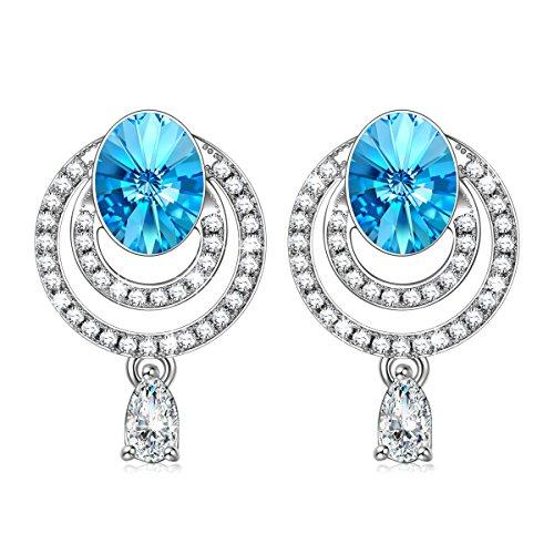 Kami Idea Mujer Pendientes de Gota El gran azul Cristales de Swarovski...