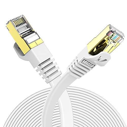 Veetop Cavo Ethernet 10m LAN di Rete Cat 7 Cavi Internet RJ45 Piatto, Velocità 10 Gigabits/s (10 Metri, Bianco)