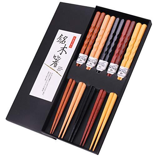 GLAMFIELDS Reusable Chopsticks Japanese Natural Wooden Classic Style 5 Pairs Lightweight Hand-Carved Safe Chop Sticks 8.8 Inch/22.5cm Gift Set