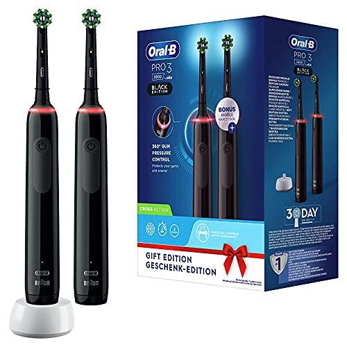 Oral-B PRO 3 3900 Brosse à Dents Électrique Rechargeable avec 2 Manches Capteur de Pression et 2 Brossettes, Technologie 3D, Noir, Élimine jusqu'à 100 % de plaque dentaire