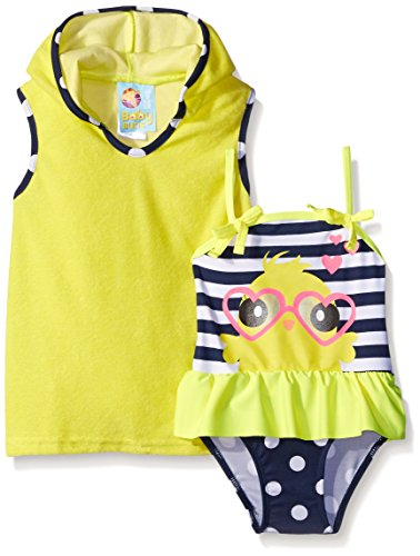 Baby Buns Baby Girls' Little Chick Terry Cover Up Swimwear Set, Multi, 24 Months