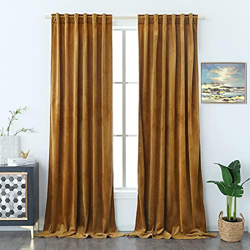 Timeper Gold Brown Velvet Curtains - Retro Heavy Velvet Drapes Rod Pocket Back Tab Design Home Decoration for Parlor / French Door / Kids Room, Gold Brown, 52Wx 84L, Set of 2 Panels