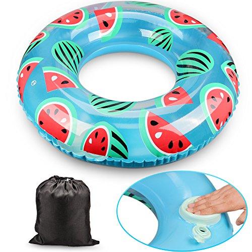 浮き輪 Oziral 最新浮輪 簡単に空気入れ 気筒不要 便利に携帯 おしゃれ 可愛い スイカ フロート プール ビーチ 海水浴 水遊び 旅行 大人用 100cm