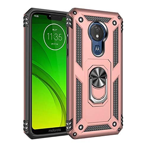 Phone Case for [Motorola Moto G7 Optimo (XT1952DL, XT1952)], [Ring Series][Rose Gold] Rotating Metal Ring Cover with Kickstand for Motorola Moto G7 Optimo (Tracfone, Straight Talk, Total Wireless)