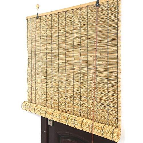 ADASP Persianas Enrollables Exterior, Estores Plegables, Cortina de Paja,Estores de Bambú, Persianas Romanas Retro, Personalizables Reed Roller Blinds Diversos tamaños Cortina de Paja Natural