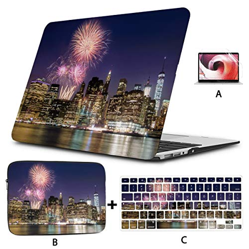 12inch MacBook Case Firework Over Manhattan Island in New York 2017 MacBook Pro Case Hard Shell Mac Air 11'/13' Pro 13'/15'/16' with Notebook Sleeve Bag for MacBook 2008-2020 Version