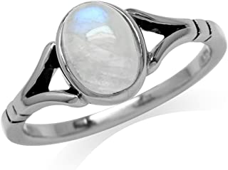 8X6mm Natural Oval Shape Moonstone 925 Sterling Silver Solitaire Ring