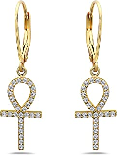 925 Solid Sterling Silver Cubic Zirconia Ankh Cross Dangling Earrings - Dangle CZ Egyptian Gothic Jewelry