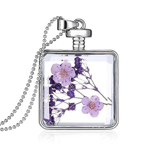 Feilok - Collar con colgante de flores secas de lavanda en bote de perfume de cristal transparente, cadena larga de cuentas, color plateado