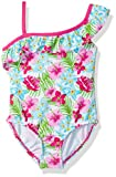 KIKO & MAX Girls' Little One Piece Swimsuit Bathingsuit with Asymmetrical Shoulder, Multi Floral, 3-6 Months
