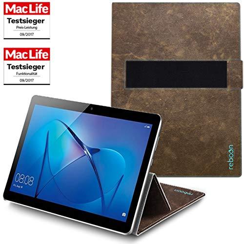 reboon Hülle für Huawei MediaPad M3 Lite 10 Tasche Cover Case Bumper | in Braun Wildleder | Testsieger