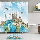 Juego de cortinas y tapetes de ducha de tela,Globo azul Viaje Roma Mapa del mundo Vuelo Viaje a la Tierra Avión de Eur,cortinas de baño repelentes al agua con 12 ganchos, alfombras antideslizantes