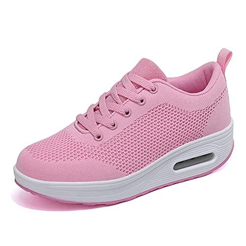 Zapatillas cuña Mujer Deportivas cuña Mujer Zapatos Deporte Gimnasio Zapatillas de Running Ligero Sneakers Cómodos Fitness Zapatos de Trabajo Rosa D 36EU