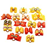 BysitShow Mixed Styles Pet Cat Puppy Topknot Small Dog Hair Bows With Rubber Bands Grooming Accessories Orange by PET SHOW