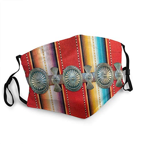 Sterling Silver Native American Concho Belt On Southwestern Pattern Fabric Reusable Face Mask Balaclava Washable Outdoor Nose Mouth Cover Fashion for Unisex Men Women
