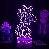 Lámpara de noche 3D Anime Xenovia Quarta 3D High School DxD LED Night Light para niñas y niños, decoración de habitaciones de Xenovia Quarta, Navidad, cumpleaños, manga, lámpara de mesa de 7 colores