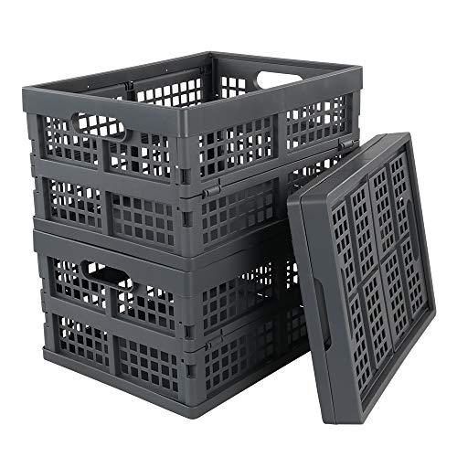 Bblie 3er Pack Grau Klappboxen Aus Kunststoff Faltbar Aufbewahrungskorb Klappkisten Einkaufskorb