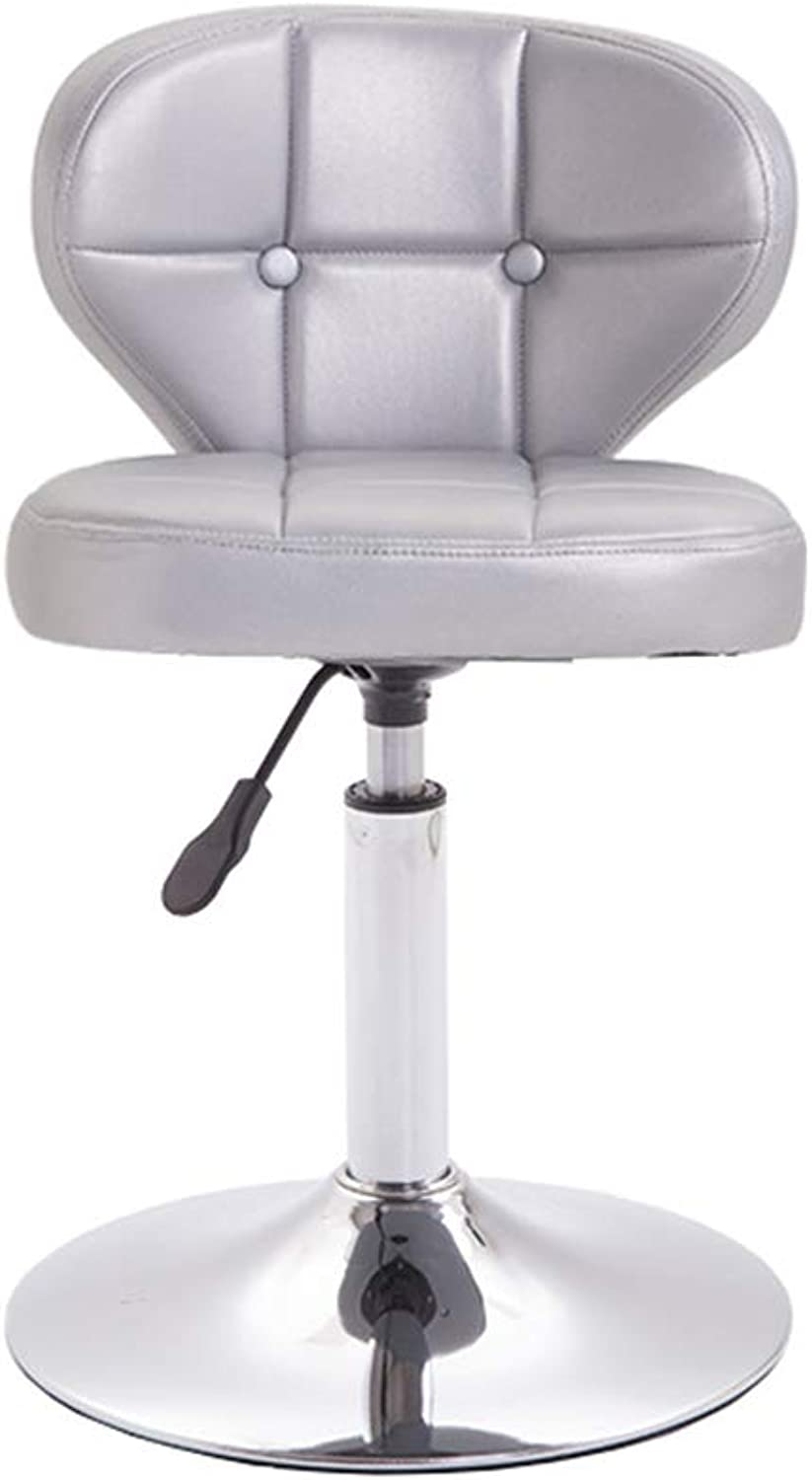 Barstools - Bar Stool Swivel Barstool with Backrest and Height Adjustable Faux Leather Colour Selection 0509A (color   Silver)