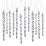Klikel Glass Icicle Ornaments - Winter Decorations for Christmas Tree - Total 36 Hanging Ornaments - 18 4' and 18 6'