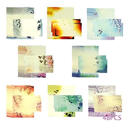 48PCS Briefumschlag Briefpapier Set,Briefpapier Und Umschläge Set,Schreibpapier,Briefpapier-Set,Briefumschlag Briefpapier Set,Schreiben Briefpapier,Umschlag