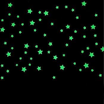 50 Pi/èces 4.2cm /Étoiles Phosphorescente Fluorescentes Autocollants Lumineux D/éco pour Chambre Denfant Vert