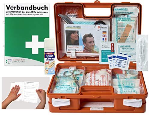 Verbandskoffer/Verbandskasten (K) Typ S - Erste Hilfe nach DIN 13157 für Betriebe -DSGVO- INKL. PERFORIERTEM VERBANDBUCH + Sprühpflaster