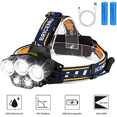 Rechargeable Headlamp Super Bright Waterproof Head Torch Headlight LED USB Work