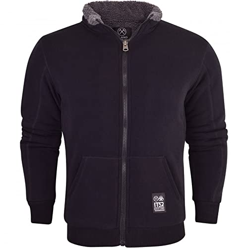 ad728c053c2 Mens Padded Borg Fleece Sherpa Lined Full Zip Up Funnel Neck Sweatshirt- No  Hood