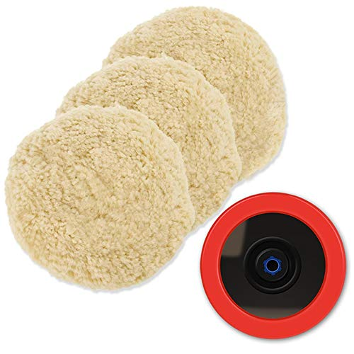 """Wool Polishing Pads, SPTA 8""""(200mm) 100% Natural Wool Buffing Pad with Hook & Loop Backing 4pcs Set Come with 5/8-11 Thread Backing Plate for Car Polishing, Buffing and Cutting"""