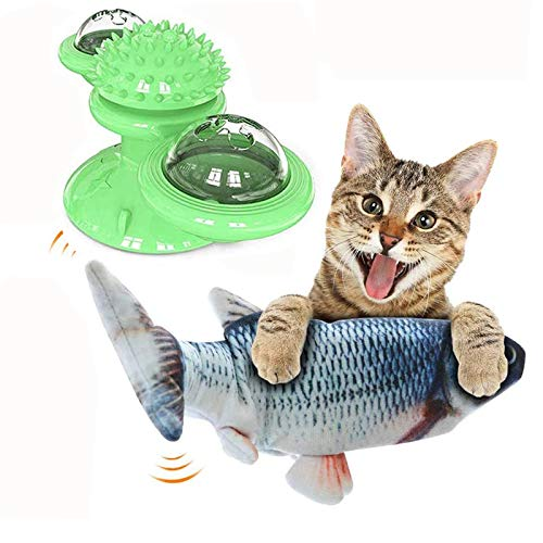 """SmithCOCO 11""""Electric Flopping Cat Kicker Fish Toy and Windmill Cat Toy with Led Ball and Catnip Ball Interactive Toy for Cat Exercise, Biting, Chewing and Kicking"""
