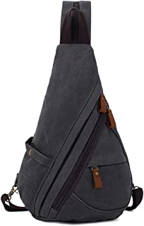 Canvas Sling Bag, Sling Backpack for Men & Women, Shoulder Crossbody Bags Chest Pack Outdoor Casual Daypacks Dual-use Strap