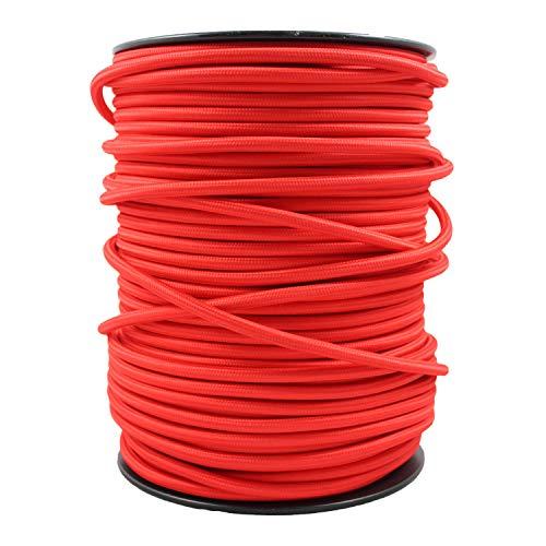 smartect Cavo elettrico Tessuto - Rosso - 1 Metro cavo tessile intessuto - Tripolare (3 x 0.75mm²) - Cavo elettrico rivestito per Fai da Te