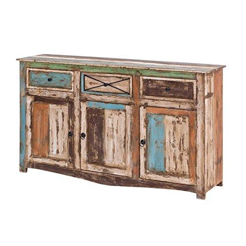 MÖBEL IDEAL Sideboard Vintage Holz Bunt Massiv bemalt lackiert Kommode 150 cm Breit Mango Massivholz