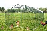 wonline Large Metal Chicken Coop, Hen Rabbit Chicken Cage, Backyard Walk-in Pens Crate Enclosure Playpen Pet Exercise
