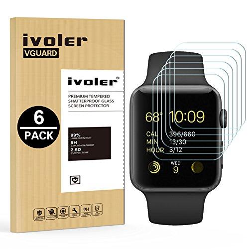 ivoler [6 Unidades] Protector de Pantalla para Apple Watch 38mm Series 1 / Series 2 / Series 3, Cristal Vidrio Templado Premium para Apple Watch 38mm Series 1 2015 / Series 2 2016 / Series 3 2017