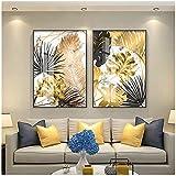Carteles de pintura de lienzo de hoja dorada de estilo nórdico e impresión moderna decoración cuadros de arte de pared para sala de estar dormitorio comedor-60x80cmx2Pcs-Sin marco